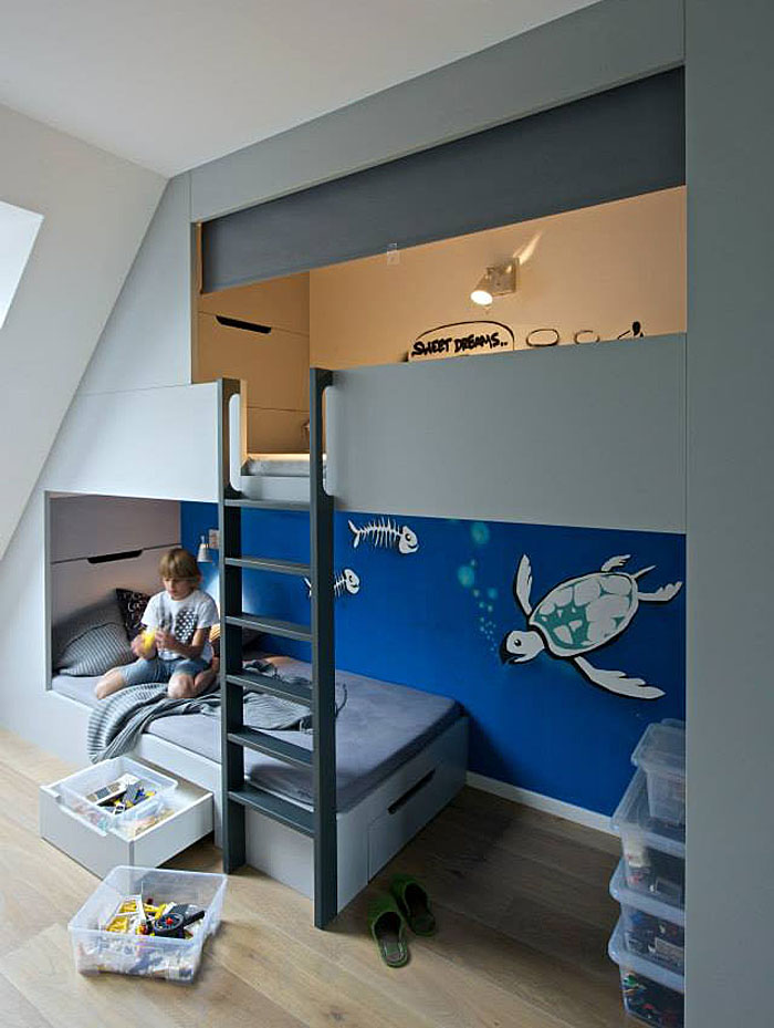 Boys Bedroom With Sleeping Loft And Plenty Of Storage