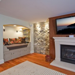 Used Kitchen Tables Block On Wheels Basement Renovation With Rustic Stone Walls | Idesignarch ...