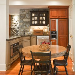 Used Kitchen Chairs Refinishing Ideas Basement Renovation With Rustic Stone Walls | Idesignarch ...