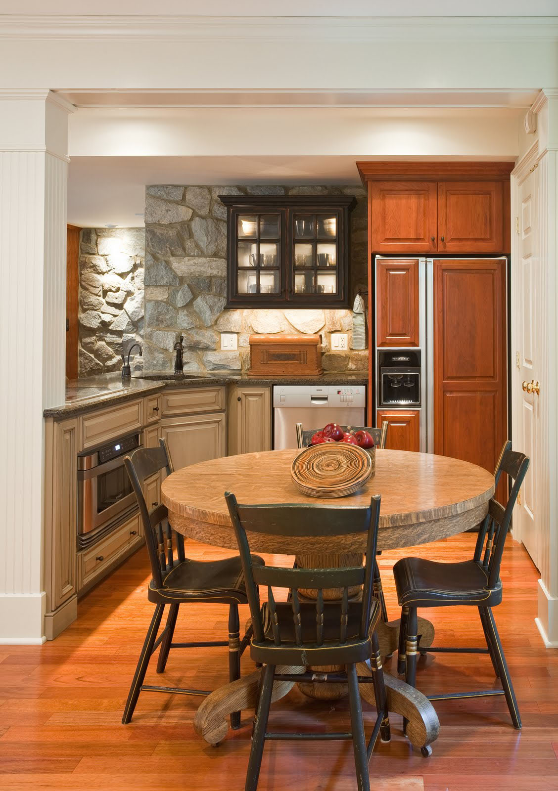 kitchen island for small tuscany faucet basement renovation with rustic stone walls | idesignarch ...
