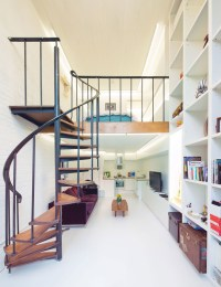Compact Loft Apartment with Spiral Staircase