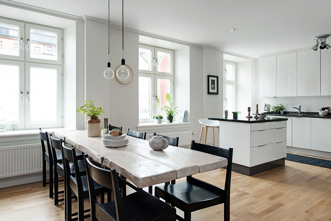 Black And White Themed Scandinavian Apartment With Modern Dream Kitchen  iDesignArch  Interior