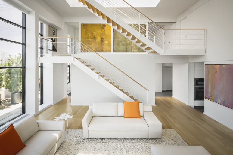 small space tables for kitchen large wall clocks minimalist duplex penthouse loft in boston | idesignarch ...