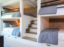 Country House Bunk Room with Queen-Size Bunk Beds ...