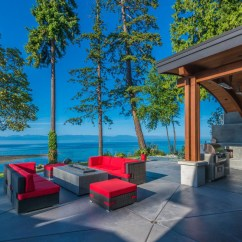 Kitchen Backyard Design White Sink Undermount Energy Efficient Luxury Ocean View Home On Vancouver ...