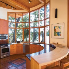 Building A Kitchen Island Pendant Lighting Over Off-the-grid Circular Oceanfront House With Protected ...