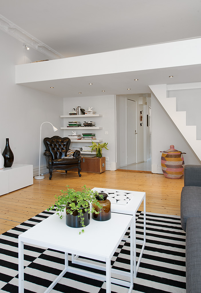 white kitchen tables maytag appliances custom-built small loft apartment in stockholm ...