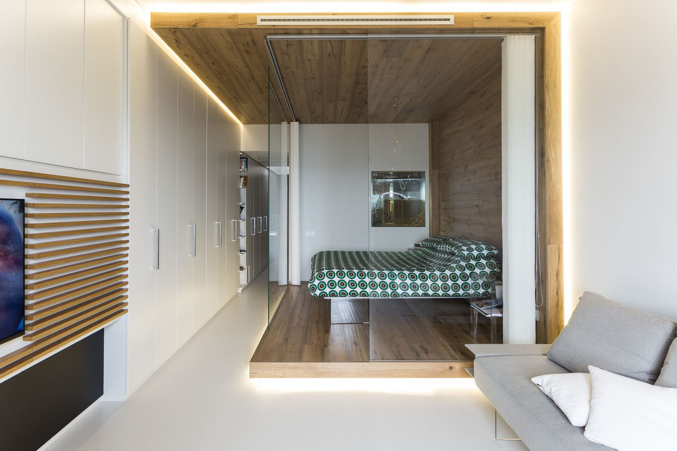 Small Studio Apartment with Functional Custom Closet and