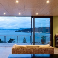 Contemporary Rustic Living Room Decorating Cabinet Sea View Home Built On A Slope In Wellington | Idesignarch ...