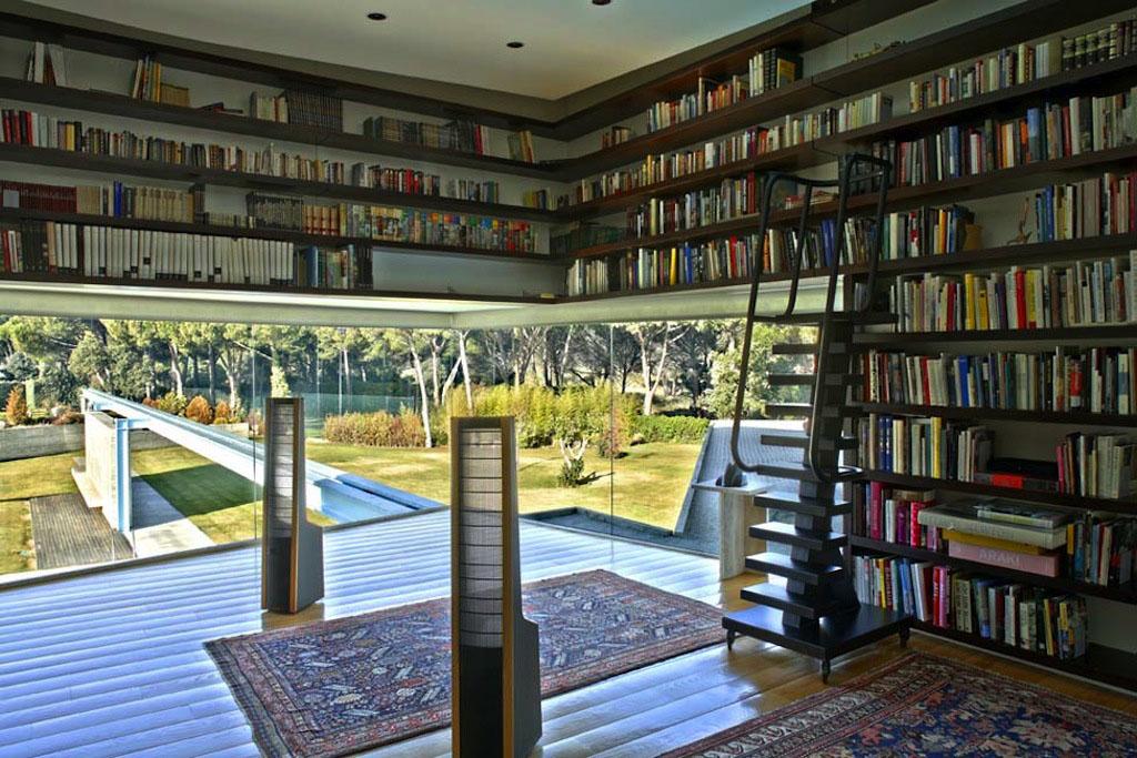 suspended kitchen shelves window curtain panels unique home libraries | idesignarch interior design ...