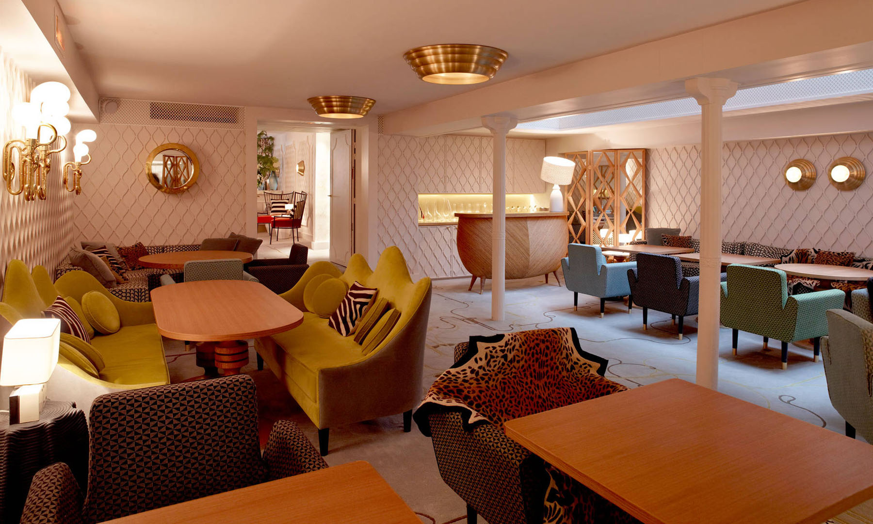 french brasserie chairs dark brown leather accent chair art deco interior design by india mahdavi at hotel thoumieux paris | idesignarch ...
