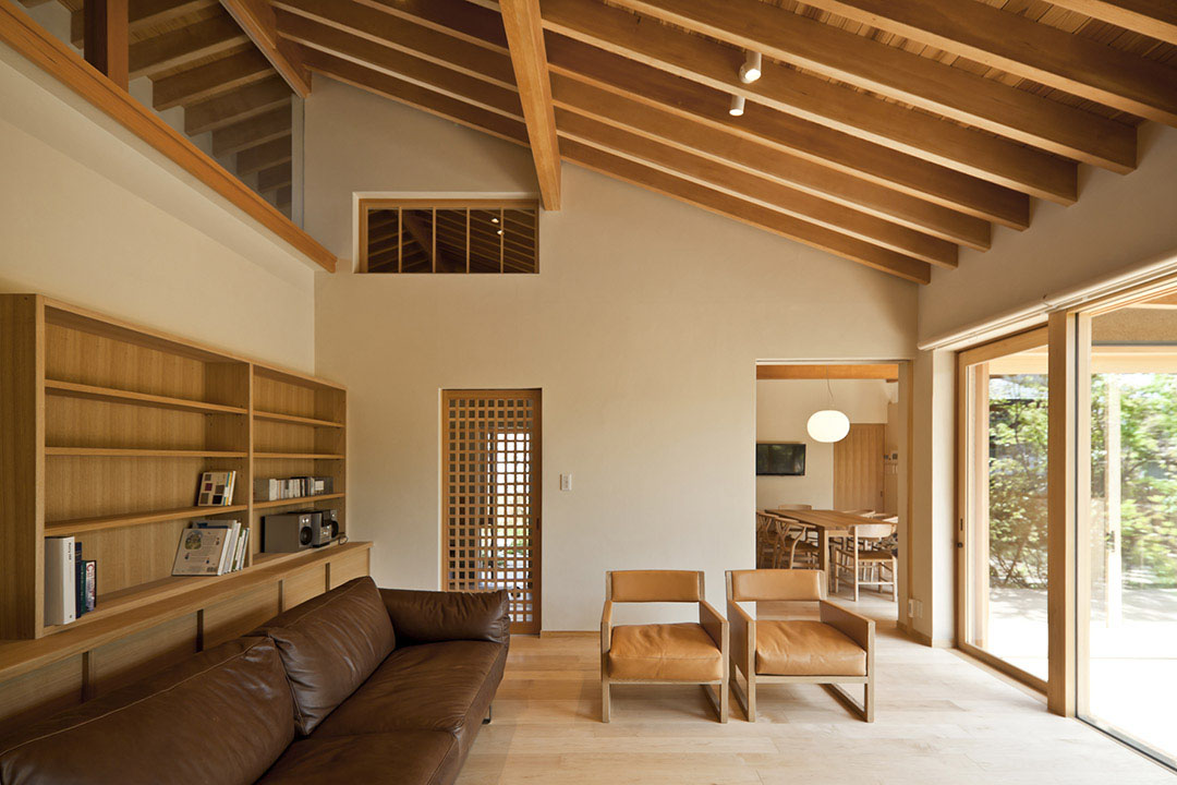 wooden frame beach chairs dark teal chair sashes timber-framed japanese house built around private gardens | idesignarch interior design ...
