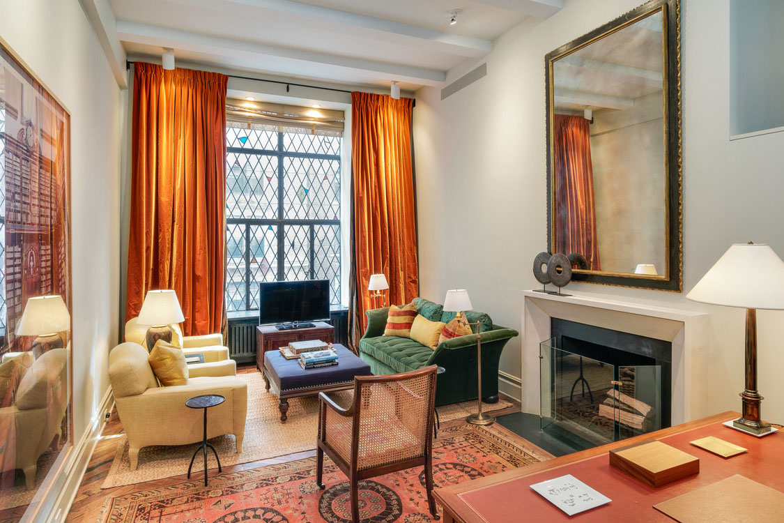 pictures of decorated living rooms with fireplaces furniture layout ideas for small room ina garten's ultra-chic new york city apartment hotel ...