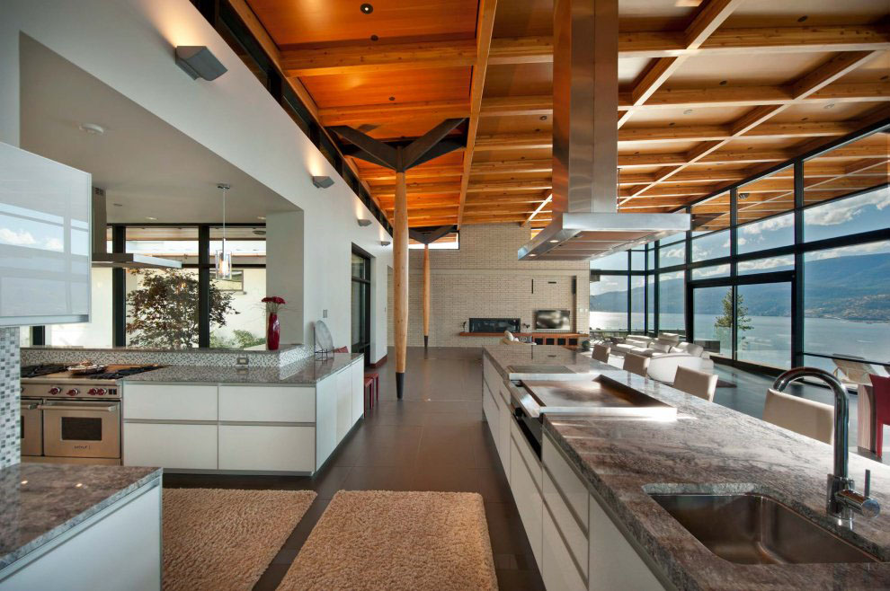 contemporary living rooms with fireplaces how to design a small narrow room kelowna house on okanagan lake | idesignarch ...