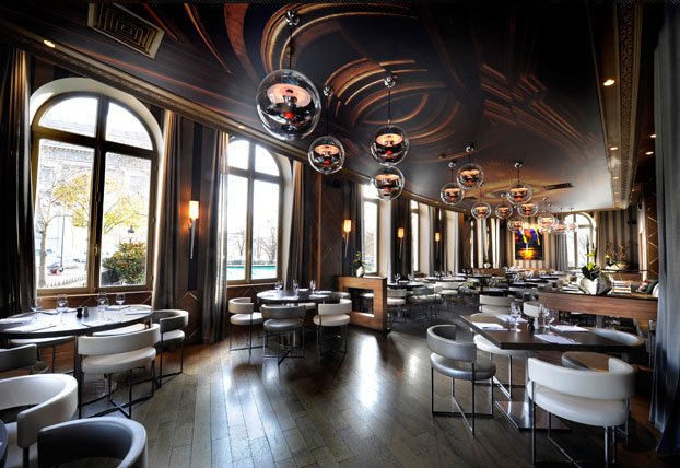 french brasserie chairs red kitchen table and l'arc paris restaurant bar & club | idesignarch interior design, architecture ...
