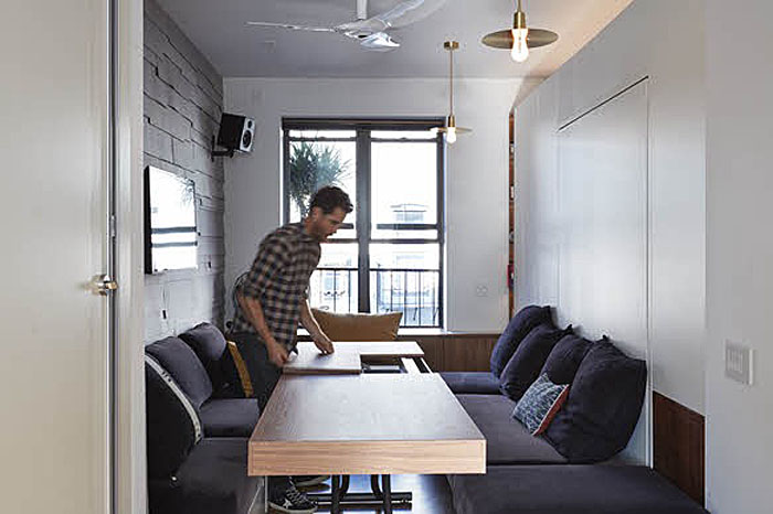 remodel a kitchen tables with benches tiny 350 square foot smart apartment in new york city ...
