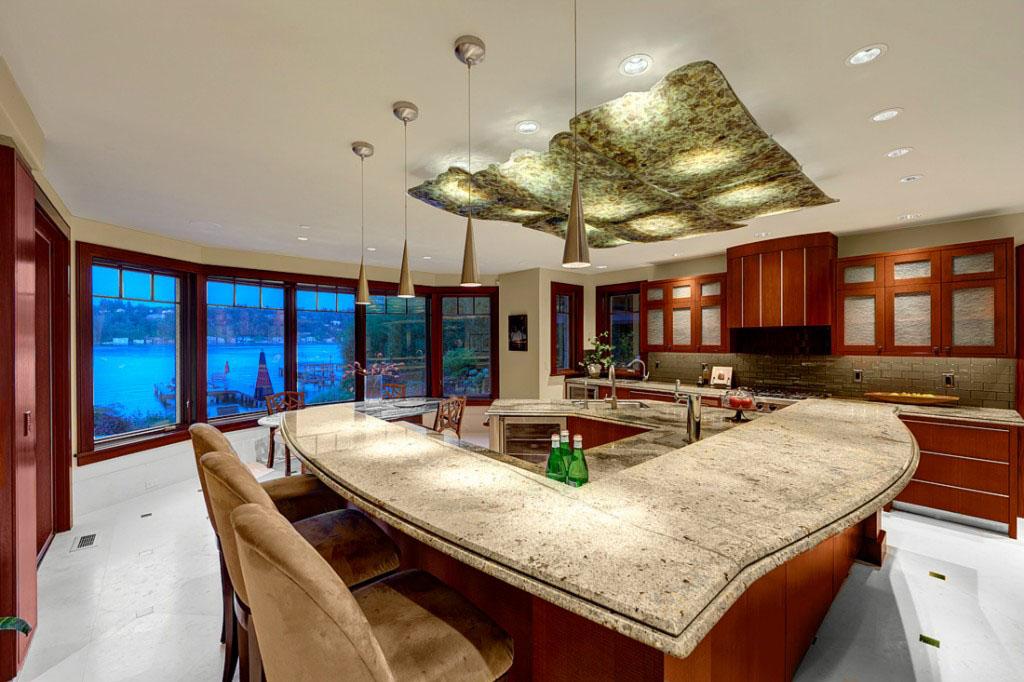 kitchen island with shelves garden windows for mercer luxury waterfront estate | idesignarch ...