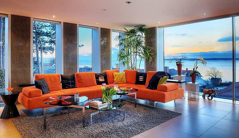 living room plan design storage stunning modern ocean view home with open floor ...