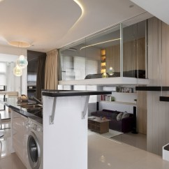 Laminate Flooring Sunken Living Room Gray Sofa Modern Small Apartment With Open Plan And Loft Bedroom ...