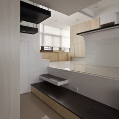 Contemporary Kitchen Lighting Tile For Countertops Modern Small Apartment With Open Plan And Loft Bedroom ...