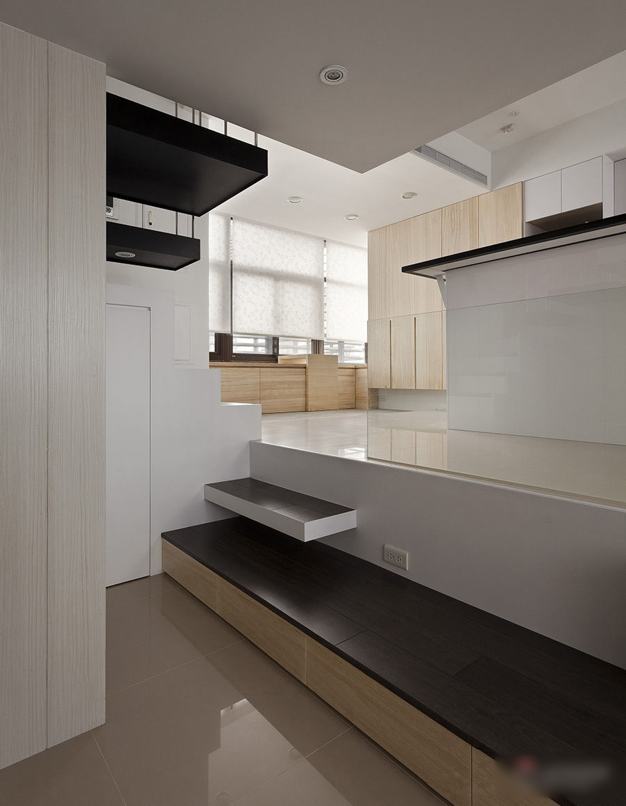clever small kitchen design large window curtains modern apartment with open plan and loft bedroom ...