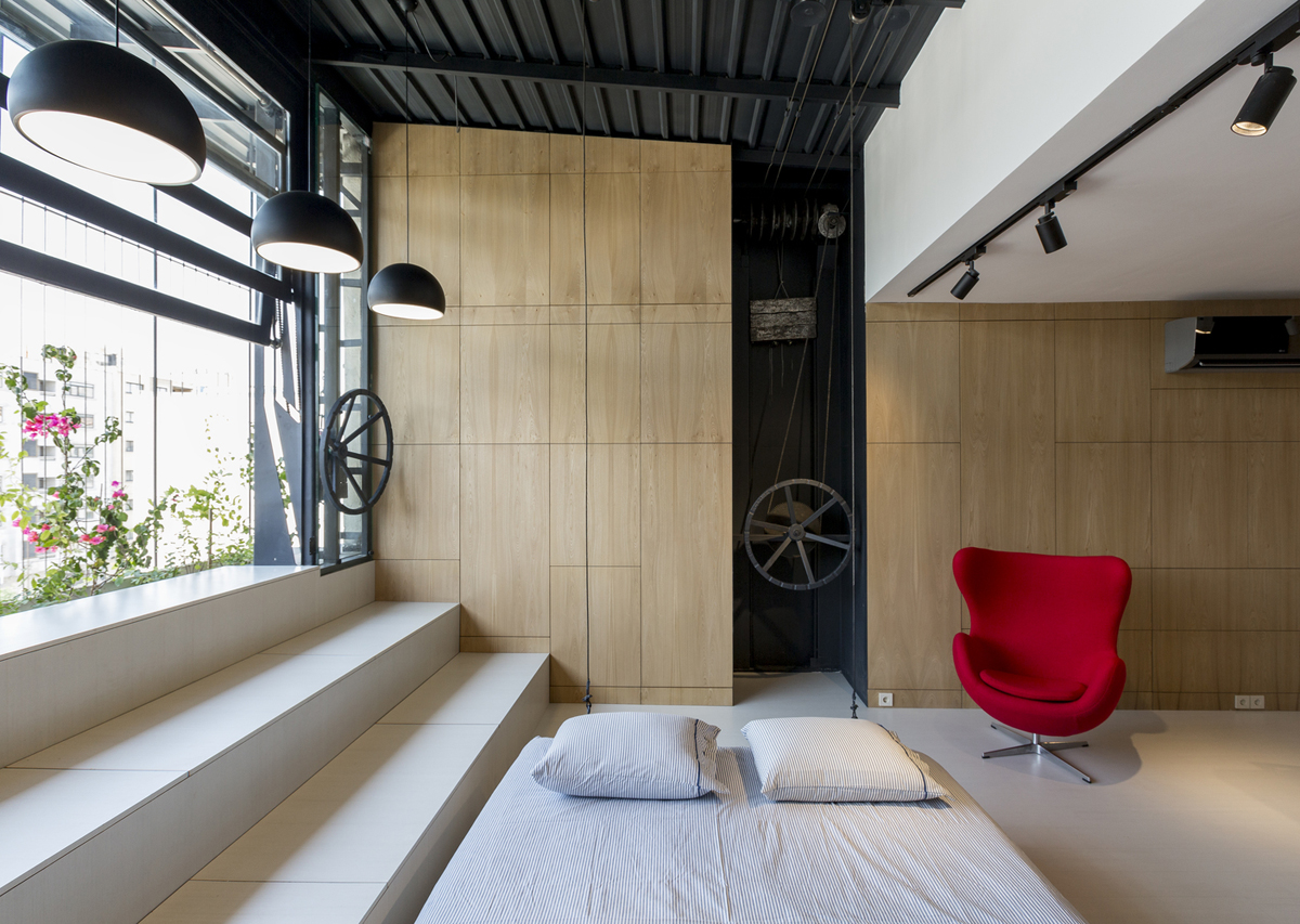 Rooftop Apartment with Hidden Functional Service Spaces and Movable Bed  iDesignArch  Interior