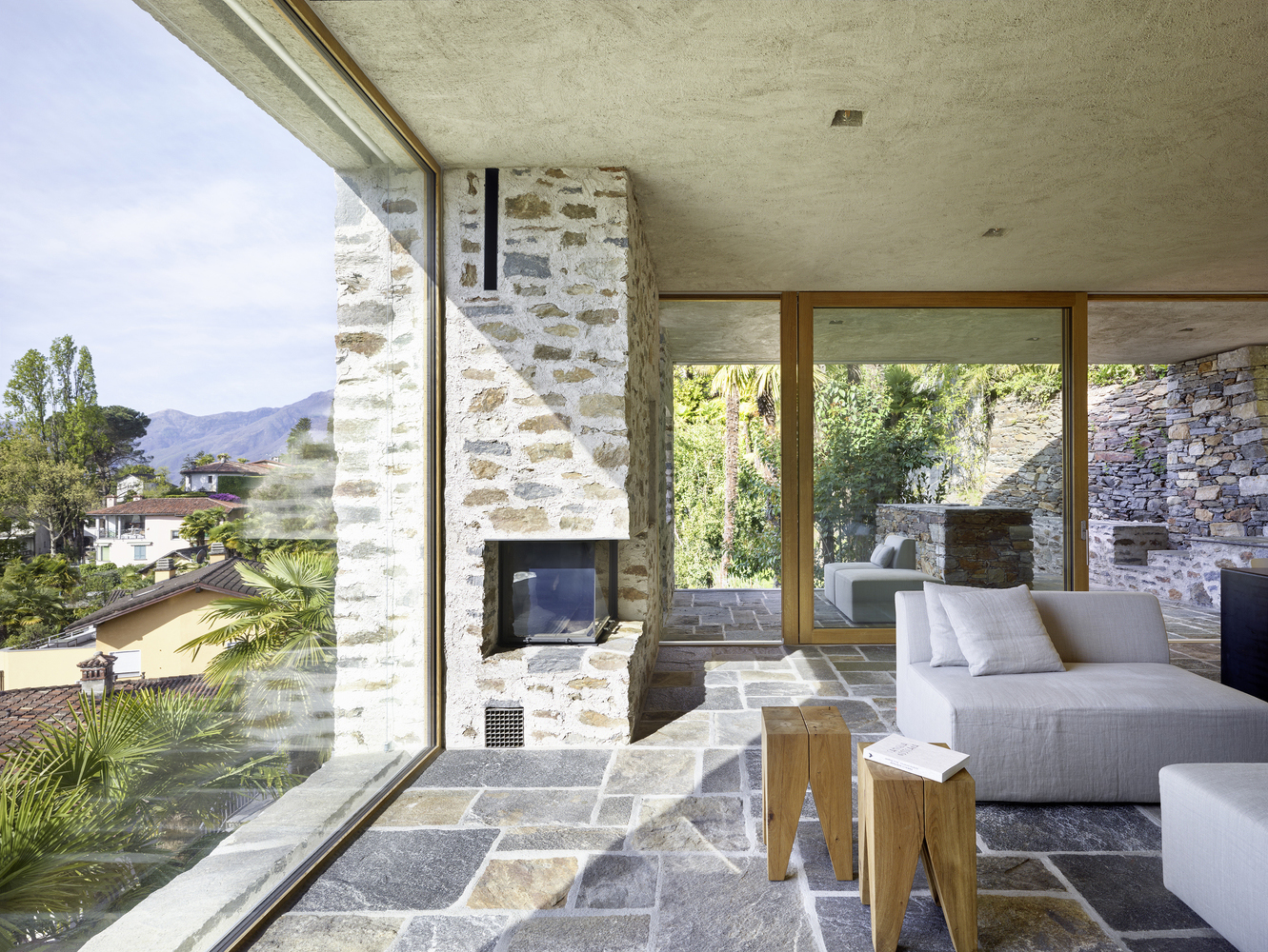 Modern Stone House with Terraced Garden Overlooking Lake Maggiore in Switzerland  iDesignArch