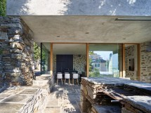 Modern Stone House With Terraced Garden Overlooking Lake