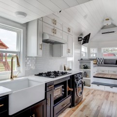 Country Kitchen Island Summer Kitchens Beautifully Designed Tiny House With Luxury And ...