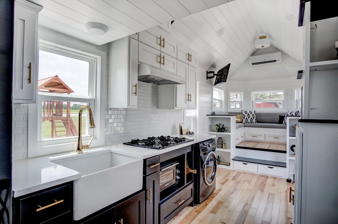 kitchen island wheels discount faucets beautifully designed tiny house with luxury and ...