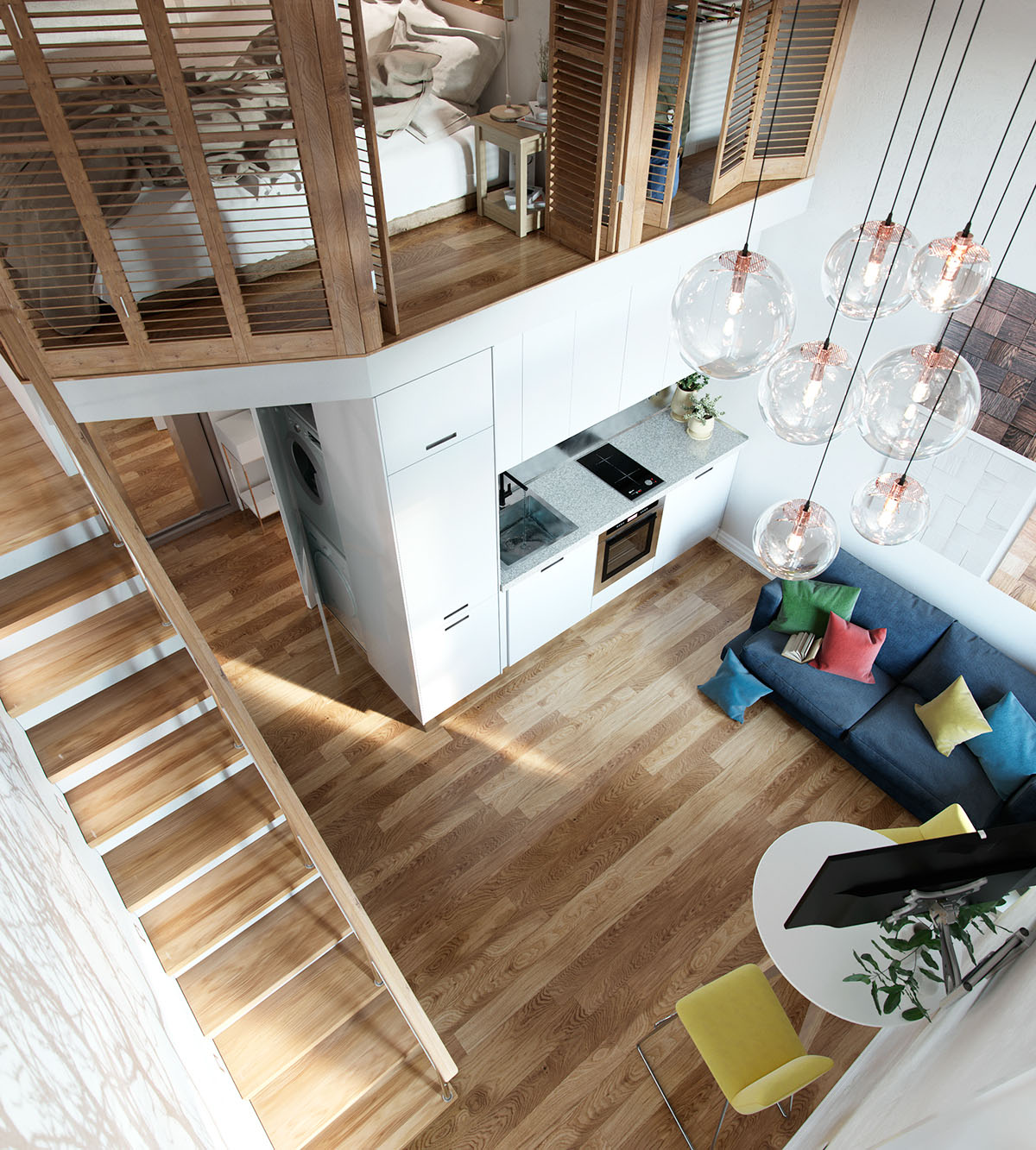 Small Studio Apartment In Moscow With Loft Bedroom  iDesignArch  Interior Design Architecture