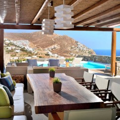 Contemporary Rustic Living Room Decorating Ideas With Black Leather Sofa Greek-mediterranean Style Villa In Mykonos Modern ...