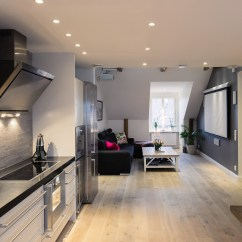 Affordable Kitchen Cabinets Complete Cabinet Set Elegant Small One Bedroom Modern Attic Apartment With ...