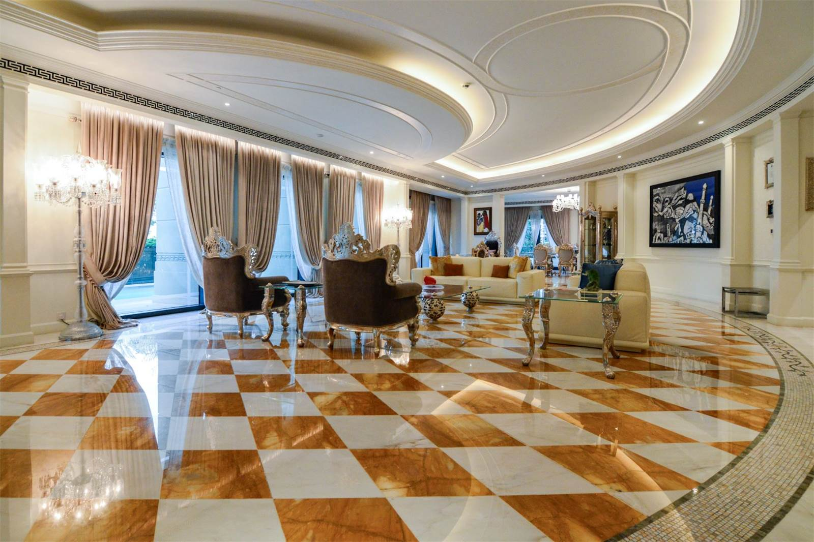 kitchen sofas oxblood red 3 seater chesterfield sofa palazzo versace opulent waterfront penthouse in dubai ...