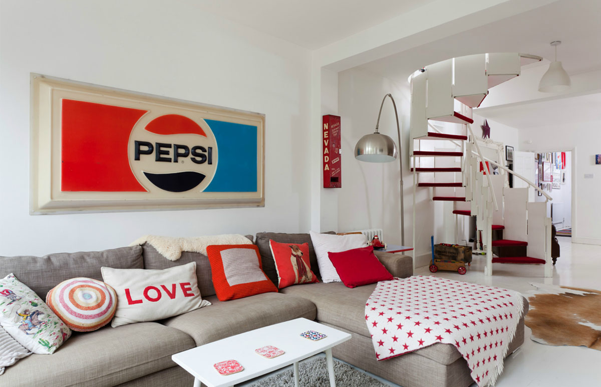 retro sofas london black leather gumtree house in ravenscourt with red and white theme ...