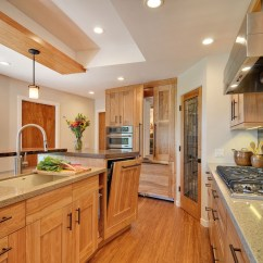 Clean Kitchen Cabinets Faucet Types Contemporary With Quartz Countertops And Red Birch ...
