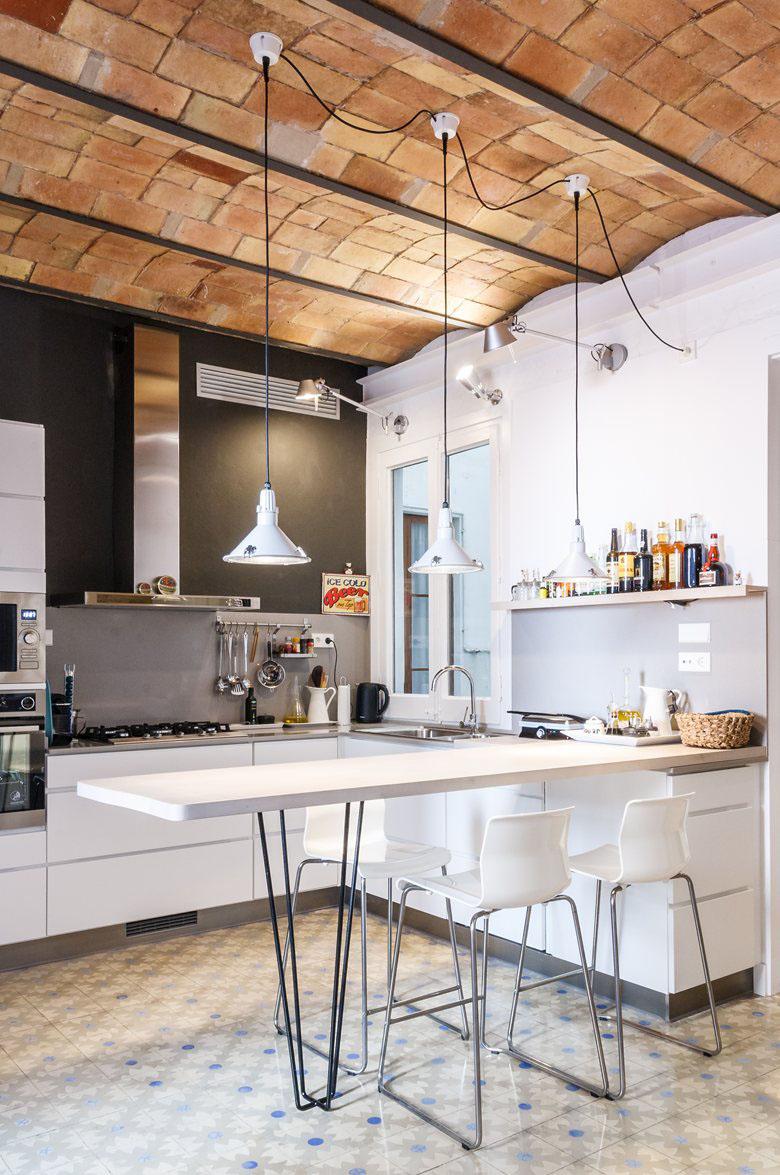 sofas with storage under black rattan garden sofa sets remodelled apartment in barcelona brick barrel vault ...