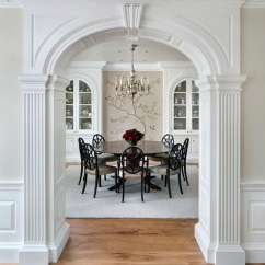 Farmhouse Kitchen Tables Island With Stove Top Crown Moulding Dominates This Updated Neoclassical ...