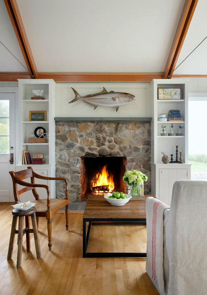 living room shelves and cabinets picture window treatment ideas cozy beachfront cottage style bungalow in rockport ...