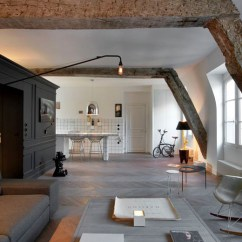 Prefab Outdoor Kitchens Kitchen Table And Two Chairs Small Renovated Attic Apartment In Paris With Functional ...