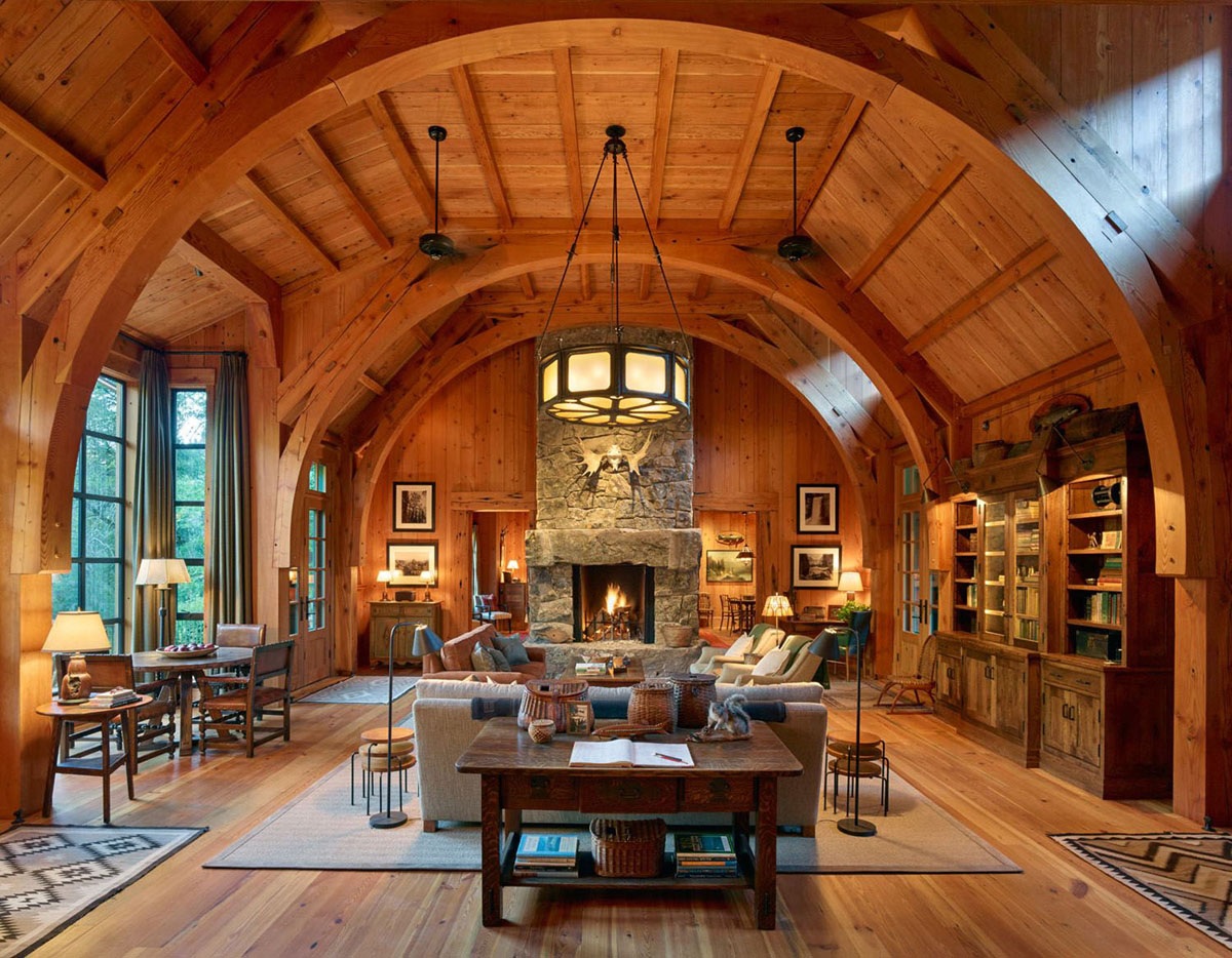 Wood Fishing Lodge Sleeping Cabin with Rustic Interior
