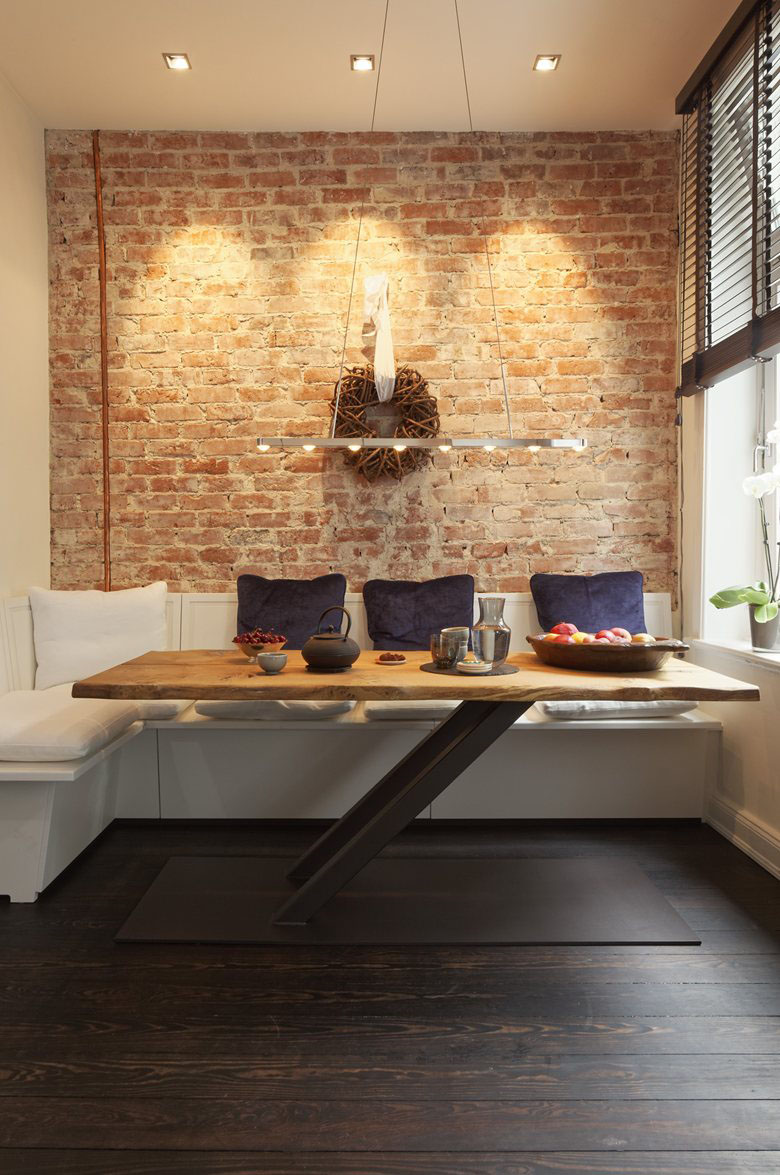 long kitchen island with seating roller cozy renovated apartment rustic brick walls ...