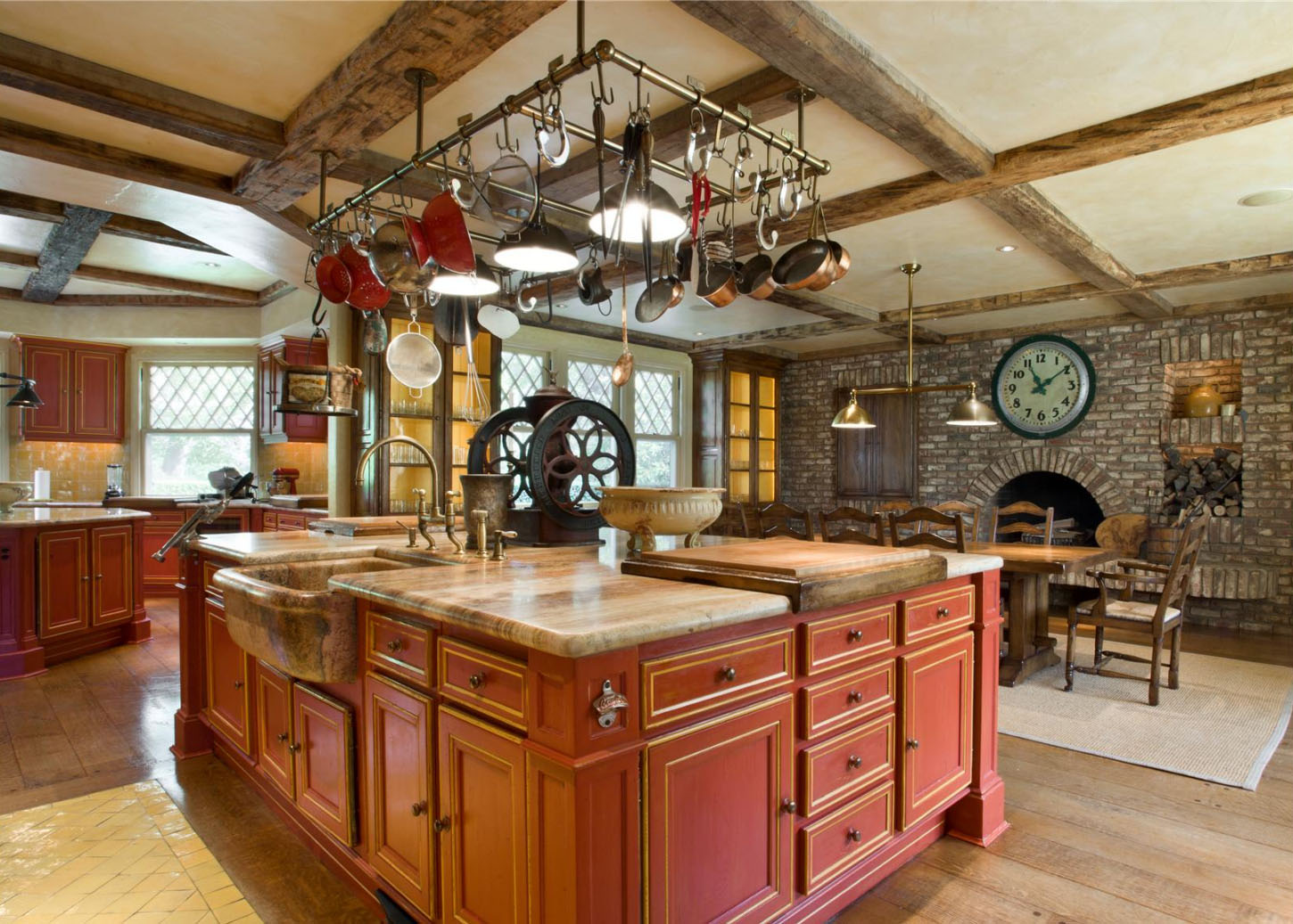 rustic kitchen island lighting copper sinks restored historical residence in southampton village ...