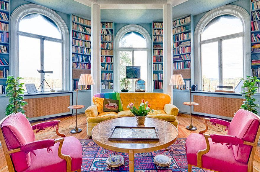 veranda living rooms chandelier in room storybook wooden palace overlooking lake mälaren ...