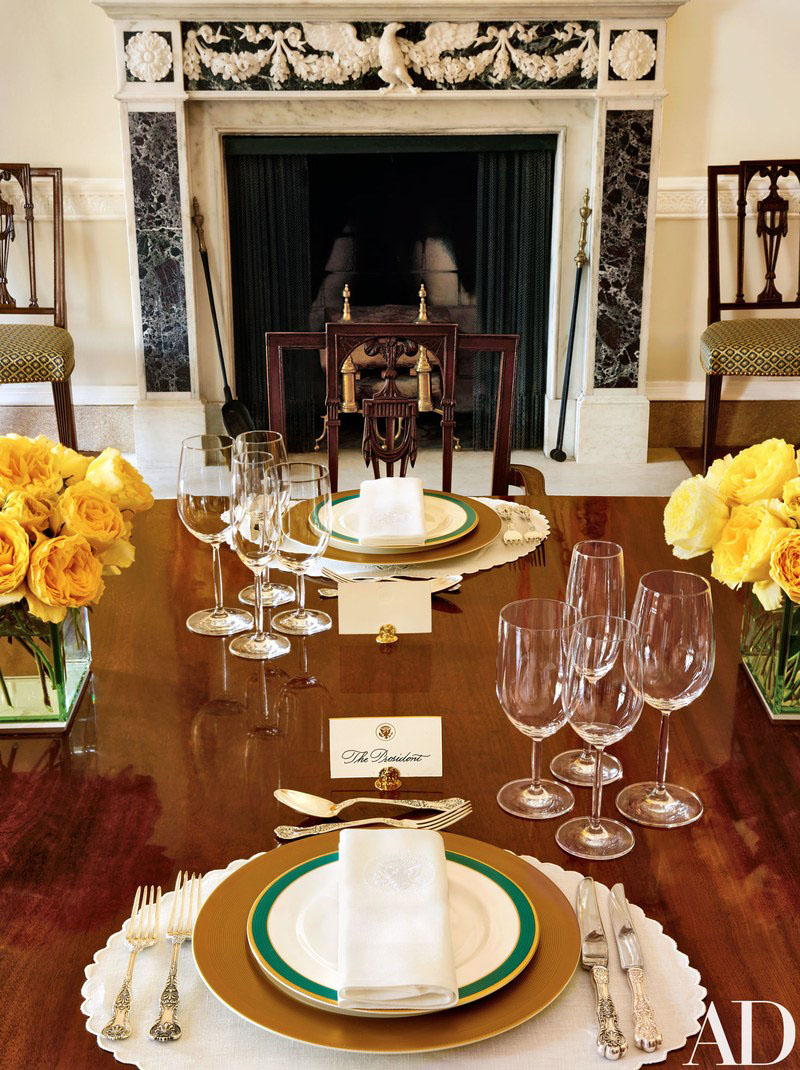 white kitchen tables square table inside the house private residence of obama ...