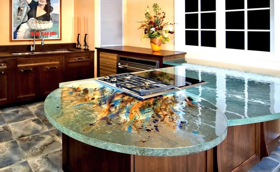 prefab kitchen island copper lighting glass countertops by thinkglass | idesignarch ...
