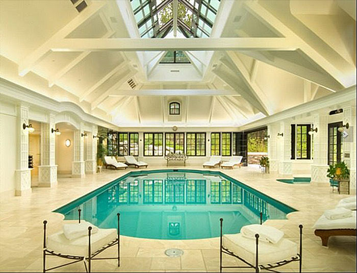 Elegant Private Indoor Glass Mosaic Swimming Pool With Atrium  iDesignArch  Interior Design