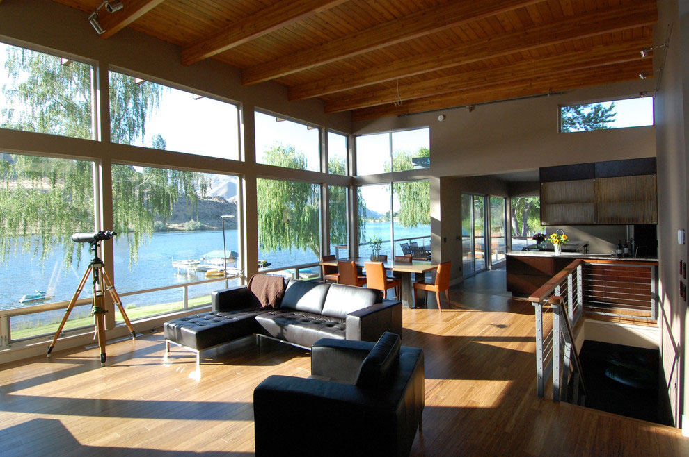 island chairs for kitchen sears luxury contemporary house by the river in washington ...