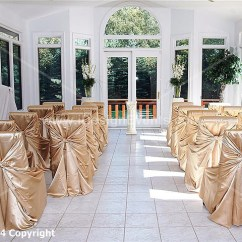 Gold Universal Chair Covers Chairs That Rock Swivel And Recline Champagne Pillow Self Tie Satin