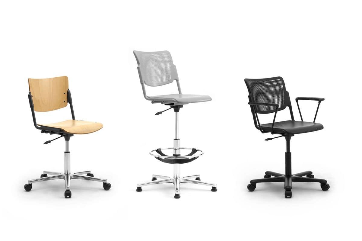 chair revolving steel base with wheels biokinesis exercises for seniors dvd office on chromed idfdesign